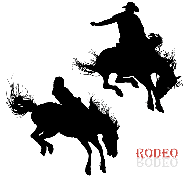 Cowboy Riding Horse in Rodeo Vector Art - Rodeo PNG HD Free