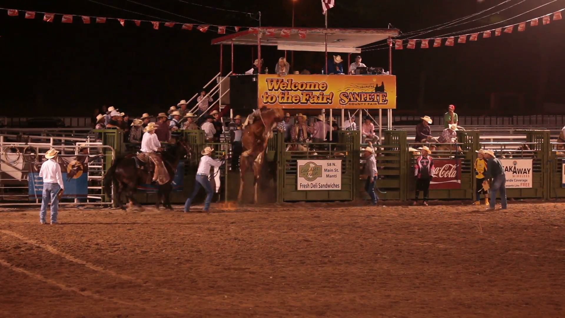 Rodeo saddle bronco horse ride gets rough ride out of chute to score high.  Night time event in central Utah. Cowboy rides hard riding bucking bronc  during PlusPng.com  - Rodeo PNG HD Free