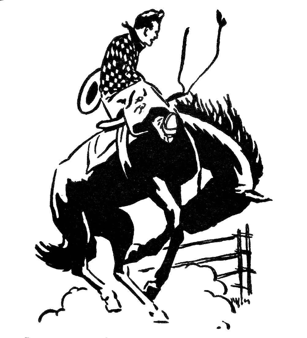 Vintage Clip Art - Rodeo Cowboy - The Graphics Fairy - Rodeo PNG HD Free