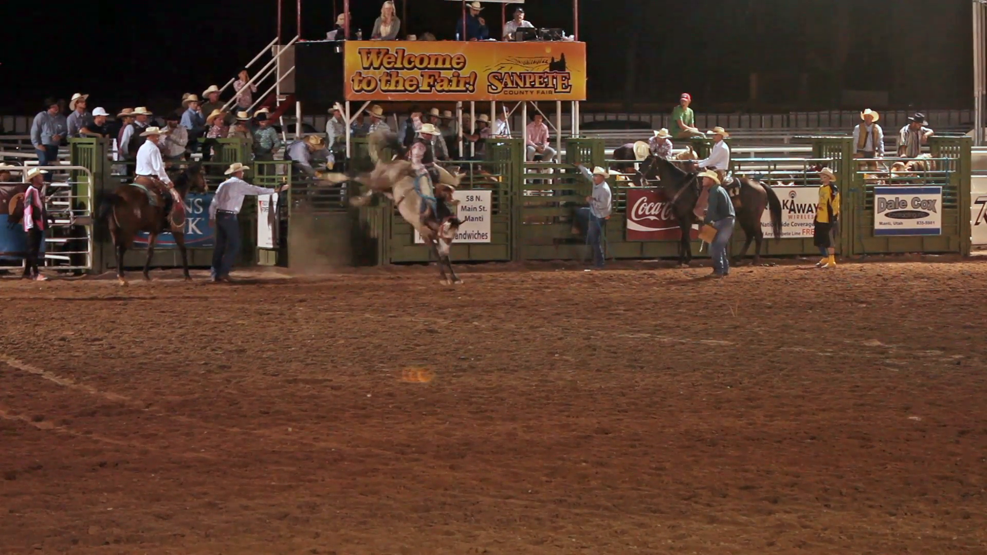 Rodeo saddle bronco horse ride gets rough ride out of chute with a hard  landing slow motion. Night time event in central Utah. Cowboy rides hard  riding PlusPng.com  - Rodeo PNG HD
