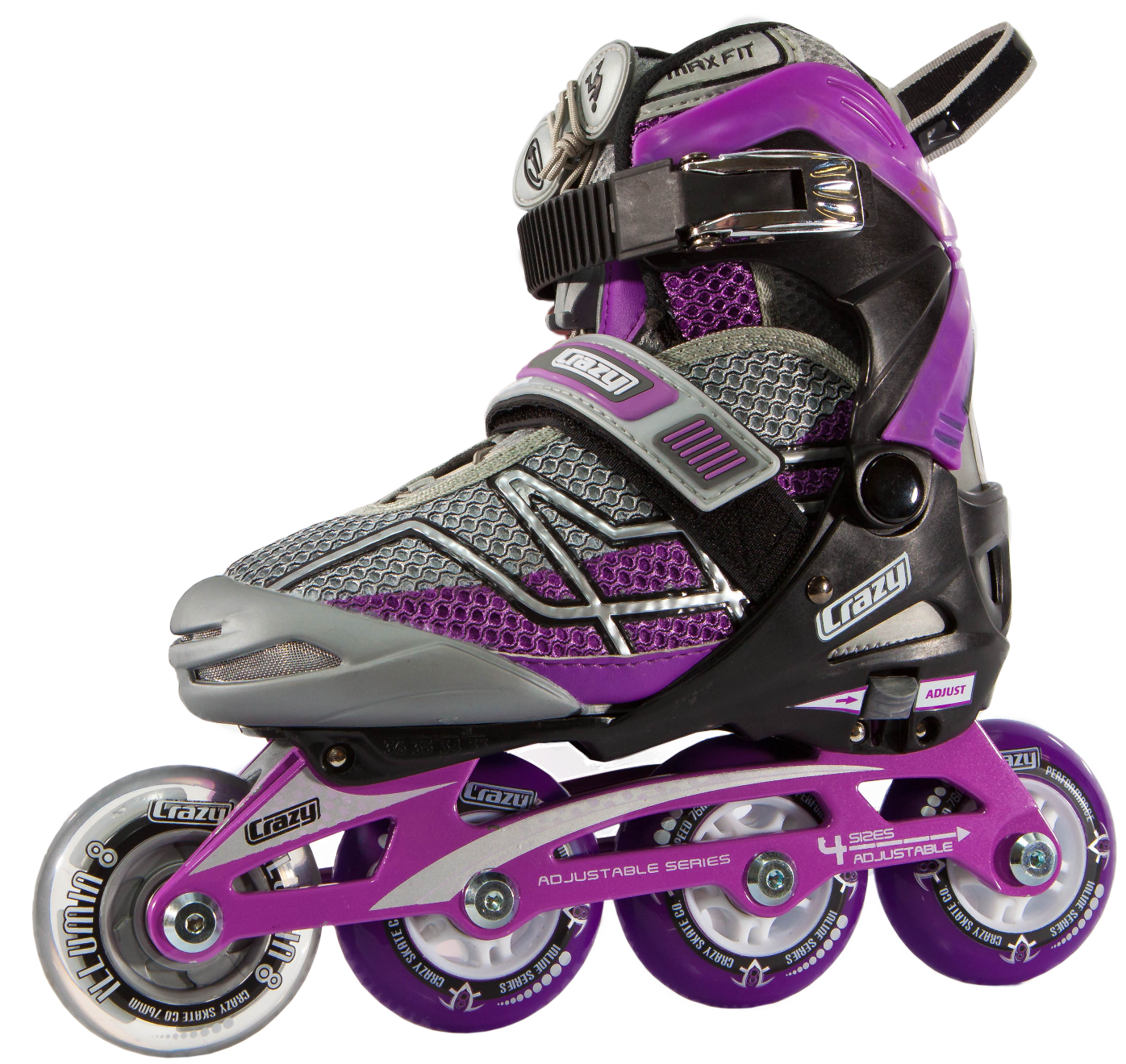 Crazy Skates 528 Adjustable Purple and Black Recreational Inline Skates - Roller Skates PNG HD