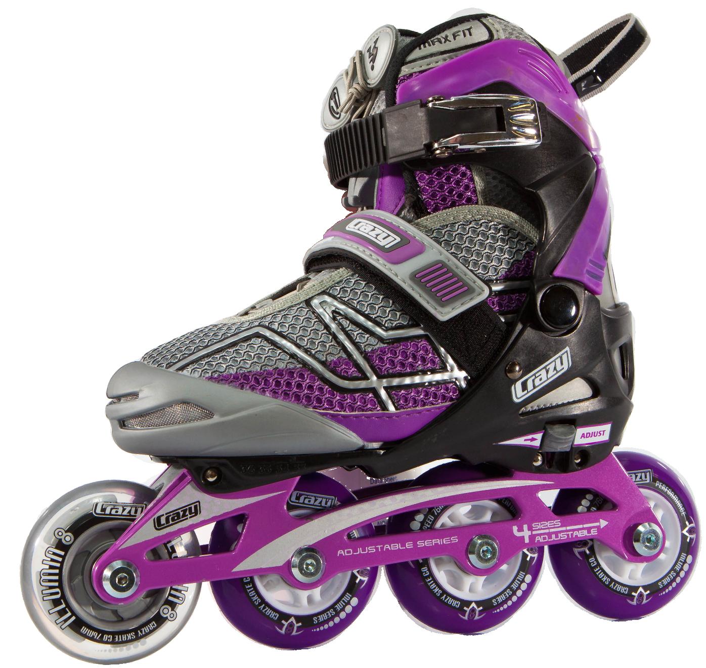 Crazy Skates 528 Adjustable Purple and Black Recreational Inline Skates - Rollerblades PNG