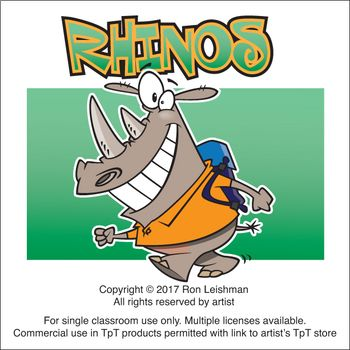 Rhinos cartoon Clipart - Ron Leishman PNG