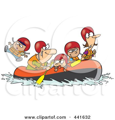 Royalty-Free (RF) Clip Art Illustration of a Cartoon Family Rafting by Ron  Leishman