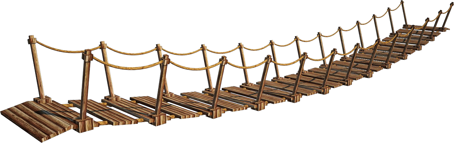 Wooden Bridge 6-A | Suspension Bridge 6-A | PNG by fumar- - Rope HD PNG