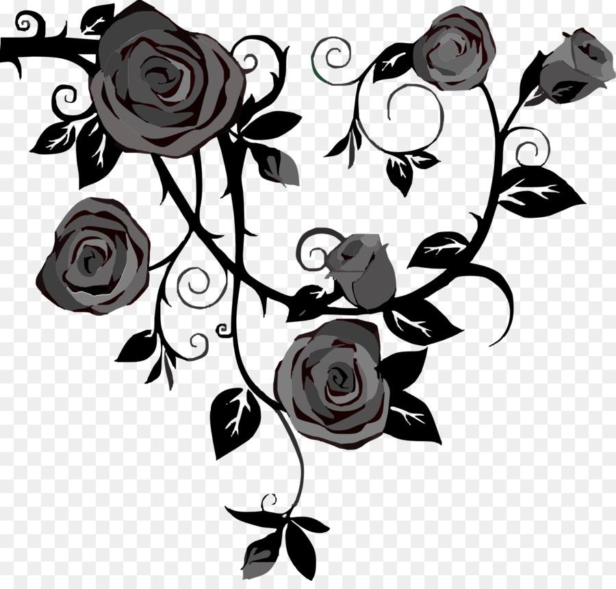 Rose Vine Drawing Thorns, spines, and prickles Clip art - black rose - Rose Vine PNG HD