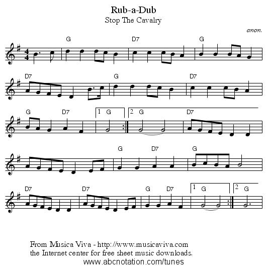 Rub-a-Dub - staff notation - Rub A Dub Dub PNG