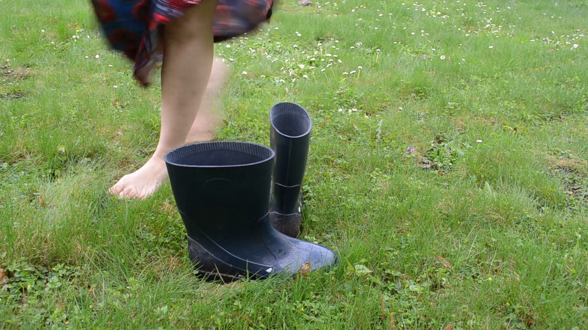 barefoot woman on meadow grass boot welly rubber shoes and walk Stock Video  Footage - VideoBlocks - Rubber Boots PNG HD