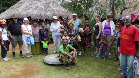 The Goddards with community members at a rural health centre in Gororomeka  in the Daulo district - Rural Community PNG