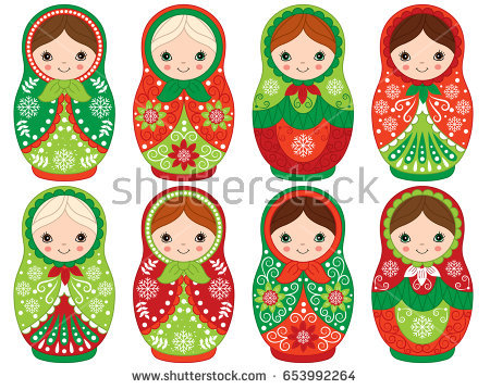 Vector matryoshka set in red and green color, traditional Russian dolls.  Vector Russian nesting - Russian Doll PNG HD