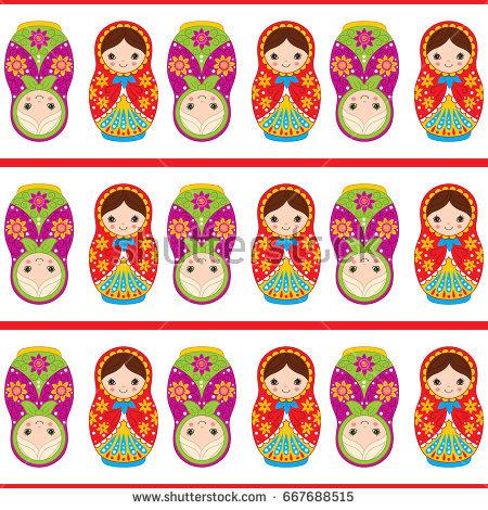 Vector seamless pattern with cute matryoshka, traditional Russian doll. Russian  nesting doll, babushka - Russian Doll PNG HD