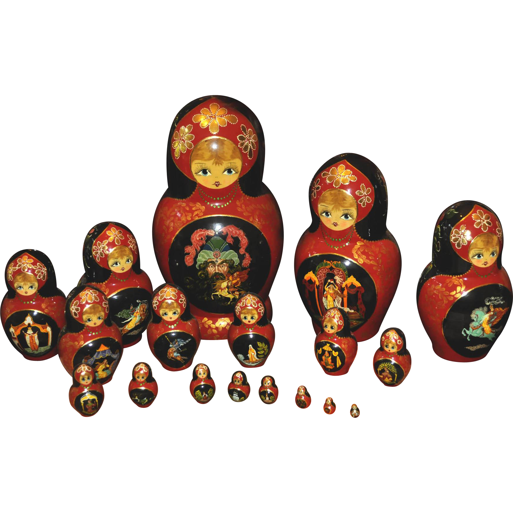 Vintage 18 Russian Made Imported Nesting Dolls from Sergeiv, Posad, Moscow - Russian Doll PNG HD