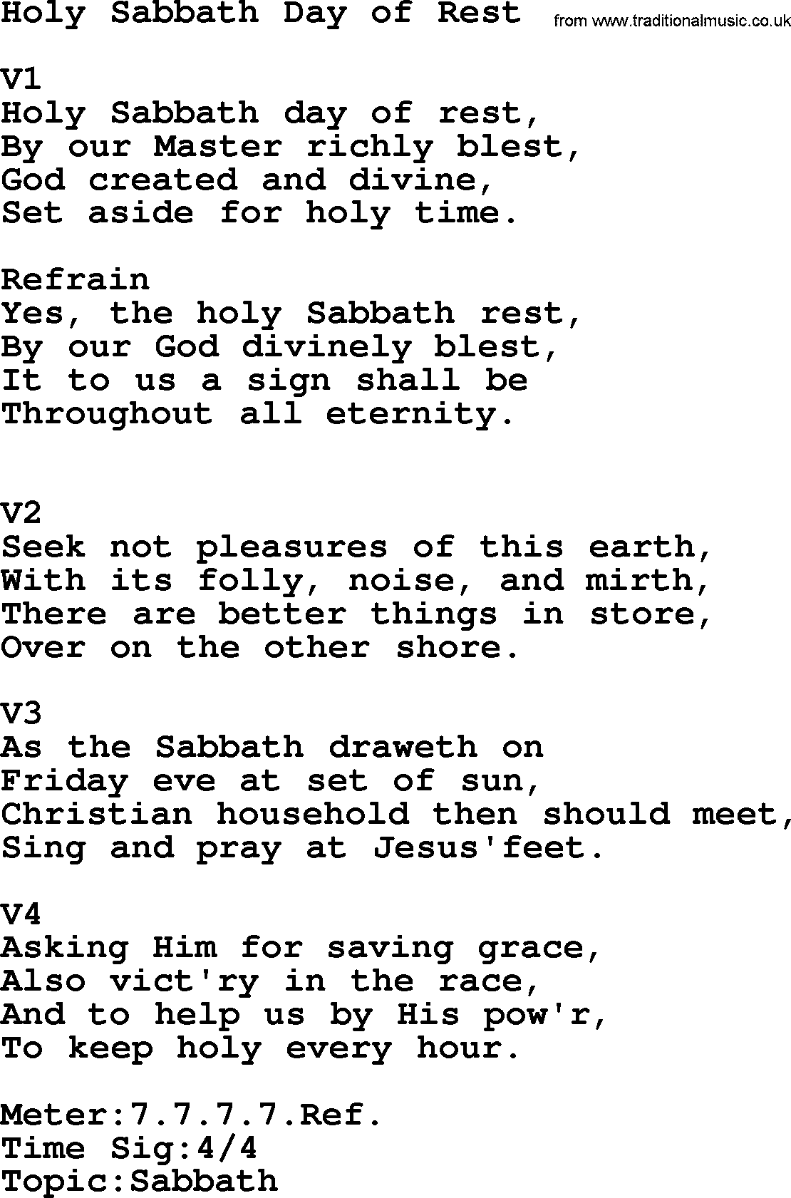 Adventist Hynms collection, Hymn: Holy Sabbath Day Of Rest, lyrics with PDF - Sabbath Day PNG