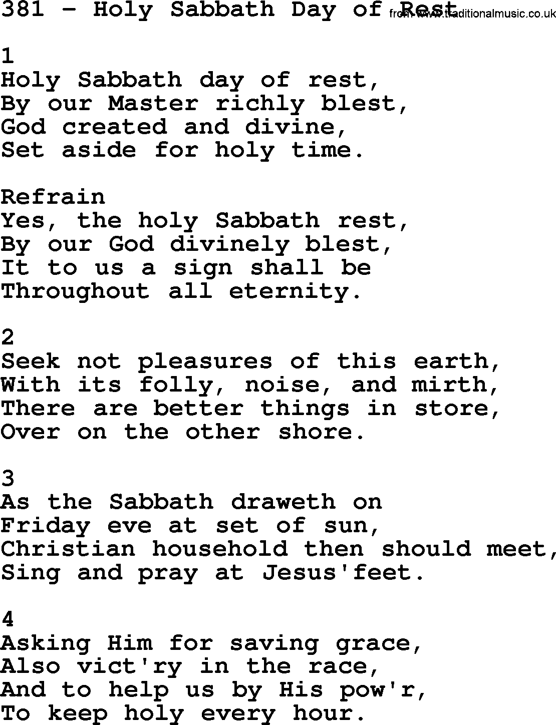 Complete Adventis Hymnal, title: 381-Holy Sabbath Day Of Rest, with lyrics - Sabbath Day PNG