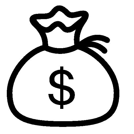 512x512 Finance Money Bag Icon iOS 7 Iconset Icons8 - Sack Black And White PNG