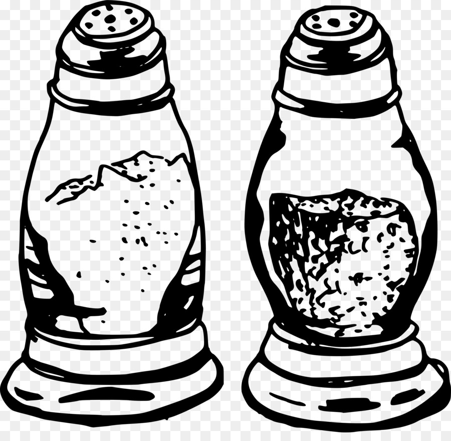 Salt And Pepper Shakers Black Pepper Capsicum Clip Art - Salt - Salt PNG Black And White
