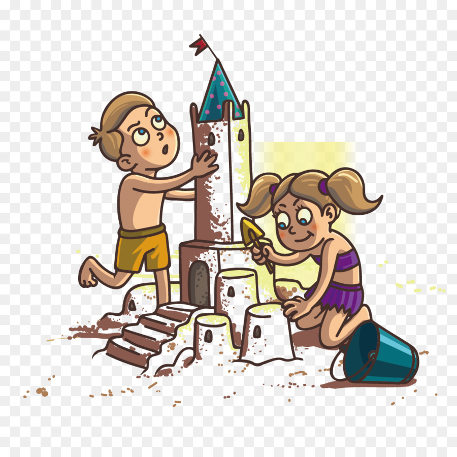 Child Sand art and play Castle Illustration - Beach sand castle for children - Sand Art PNG