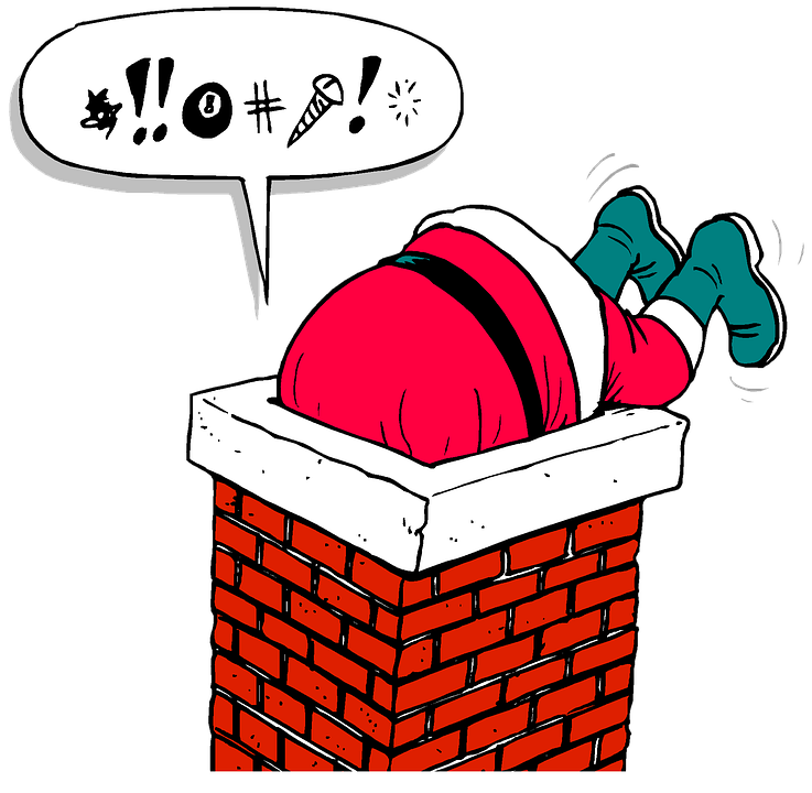Santa, Chimney, Stuck, Christmas, Holiday, Present - Santa Chimney PNG HD