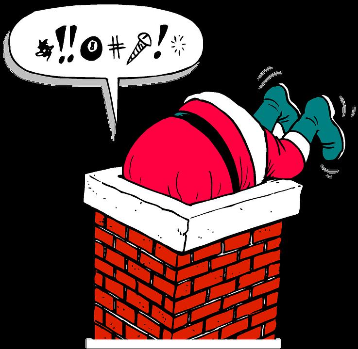 Santa, Chimney, Stuck, Christmas, Holiday, Present - Santa Chimney PNG HD