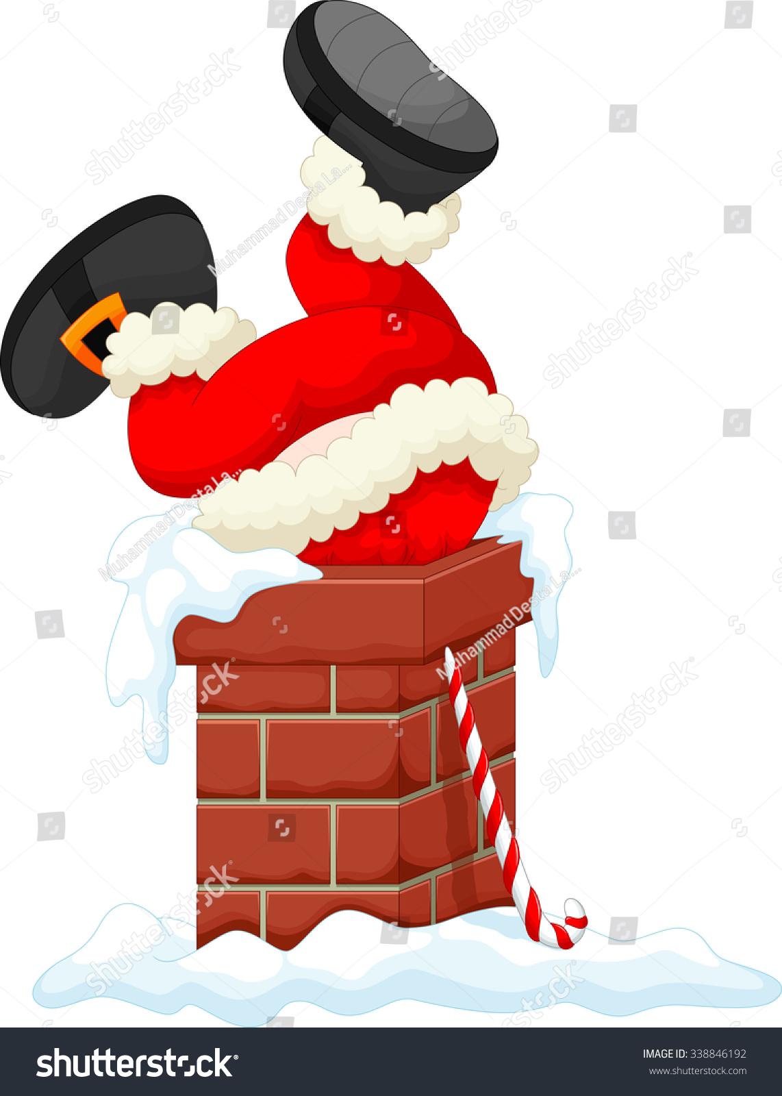 Santa Claus stuck in the Chimney - Santa Chimney PNG HD