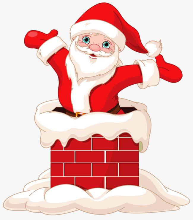 Santa in the chimney, Chimney, Santa Claus, Snow Free PNG Image - Santa Chimney PNG HD