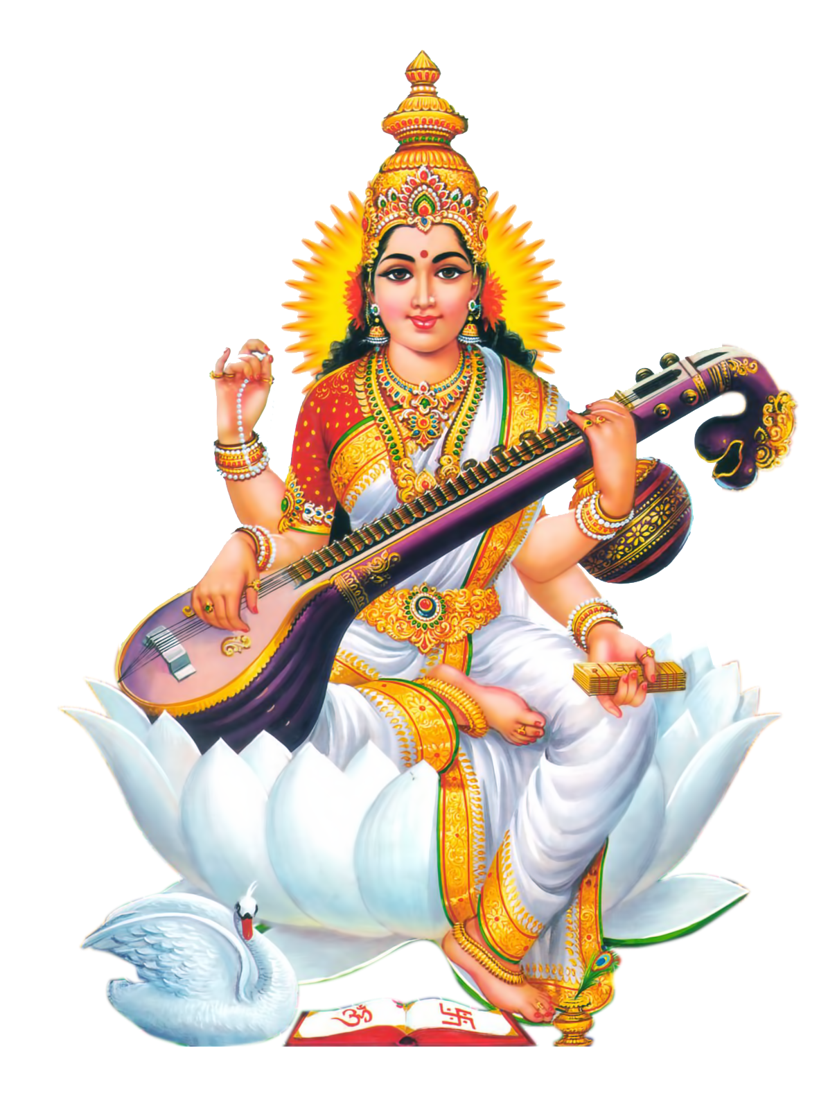 goddess-Saraswati-Free-HD-PNG-vector-photo-images- - Saraswati HD PNG