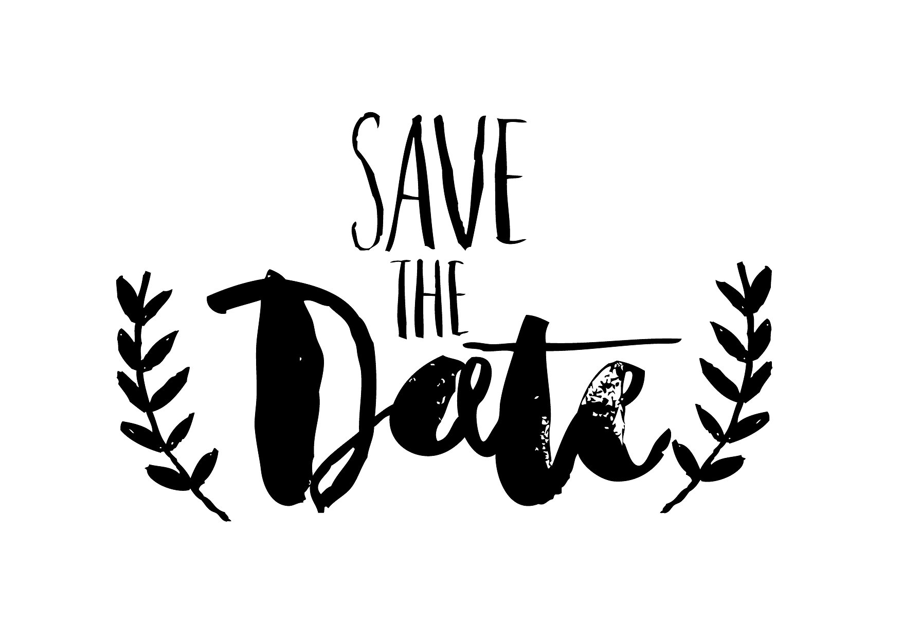 Save The Date PNG Black And White - 87749