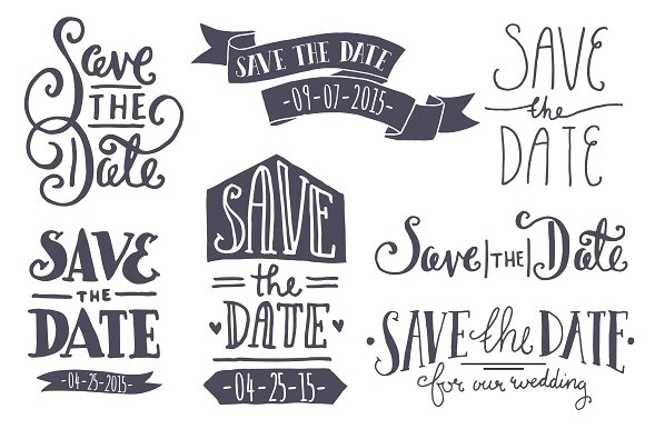 Save The Date PNG Black And White - 87741