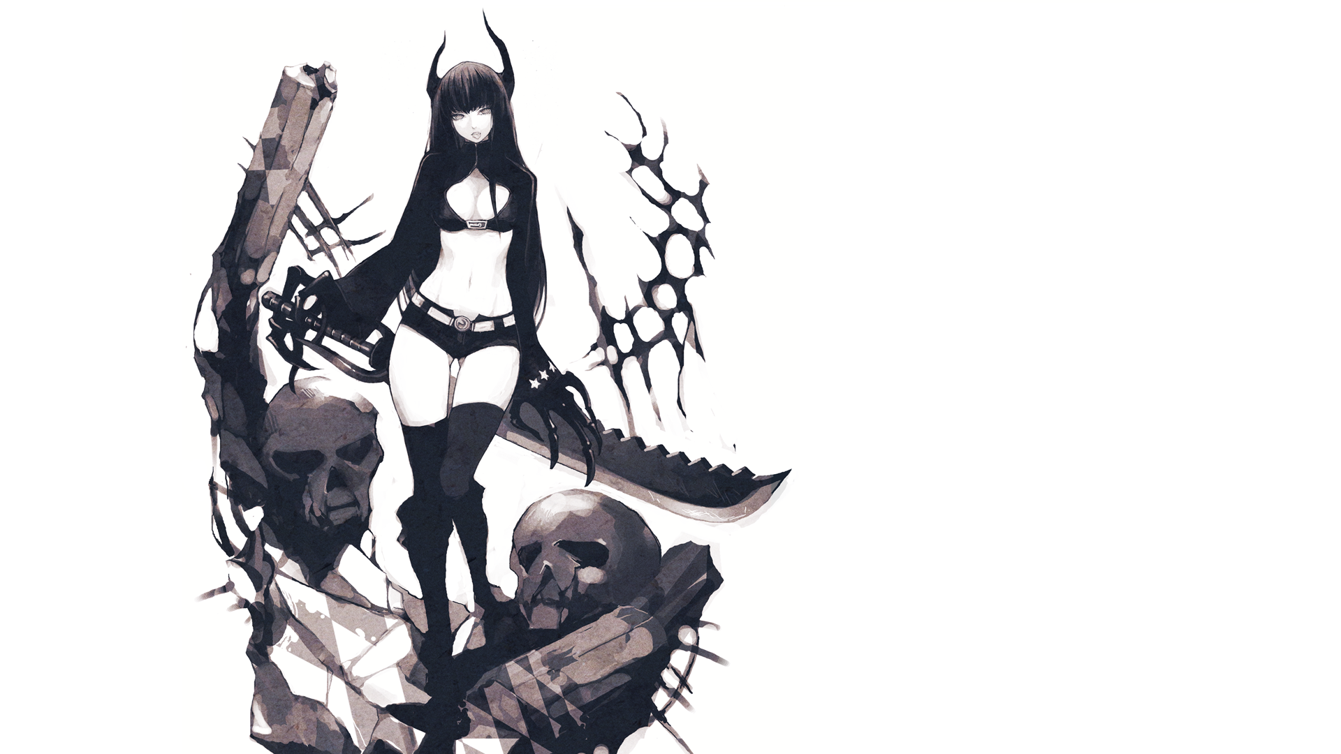 Anime - Black Rock Shooter Black Gold Saw Wallpaper - Saw HD PNG