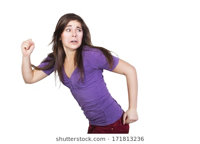 Scared Woman Running Screaming PNG - 165067