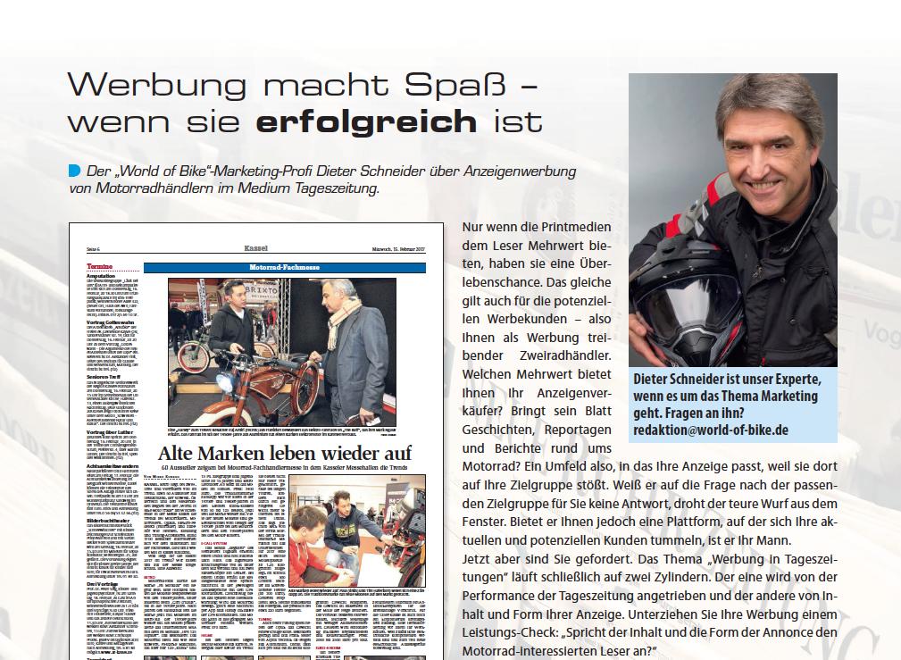 Die World of Bike ist ein Fachmagazin für den Zweiradhandel in Deutschland.  Schön wenn sich Hobby und Beruf auf diese Weise verbinden. Macht Spaß! - Schneider Beruf PNG