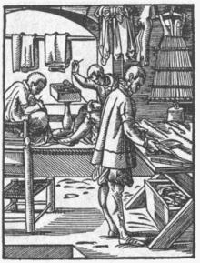 Schneiderhandwerk um 1568. Schneider im Schneidersitz - Schneider Beruf PNG
