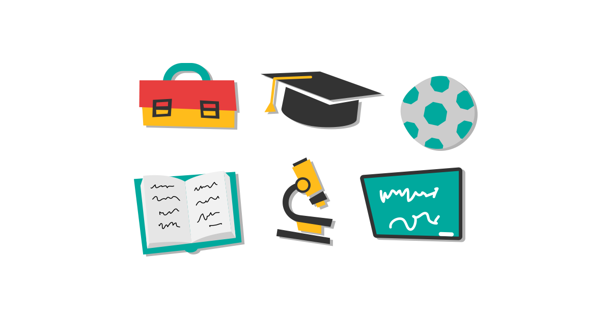 School Accessories Free Vector Illustrations PNG Graphic Cave - School Related PNG Free