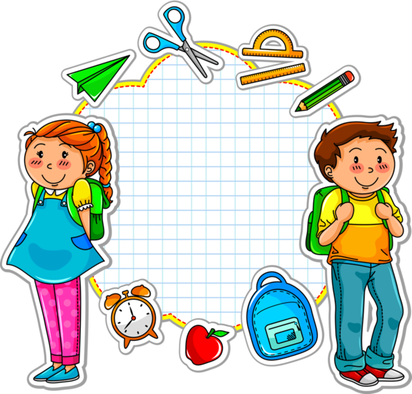 School Kids And A Set Of School Related Items Royalty Free . - School Related PNG Free