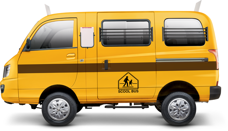 Mahindra Supro in School Bus Yellow Color - School Van PNG