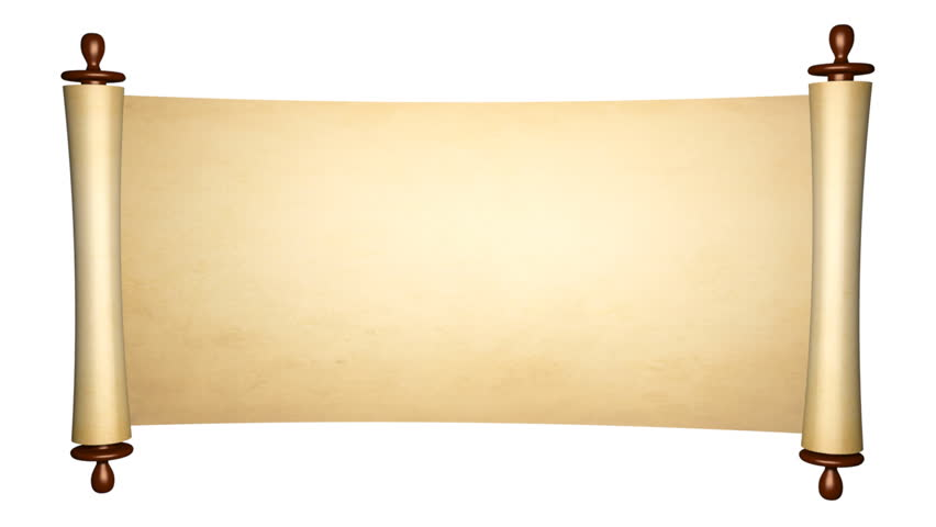 Scroll of old parchment, 3d animation with alpha mask - HD stock footage  clip - Scroll PNG HD