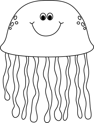 Black and White Cartoon Jellyfish - Sea Life PNG Black And White