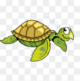 Cartoon turtle green sea turt
