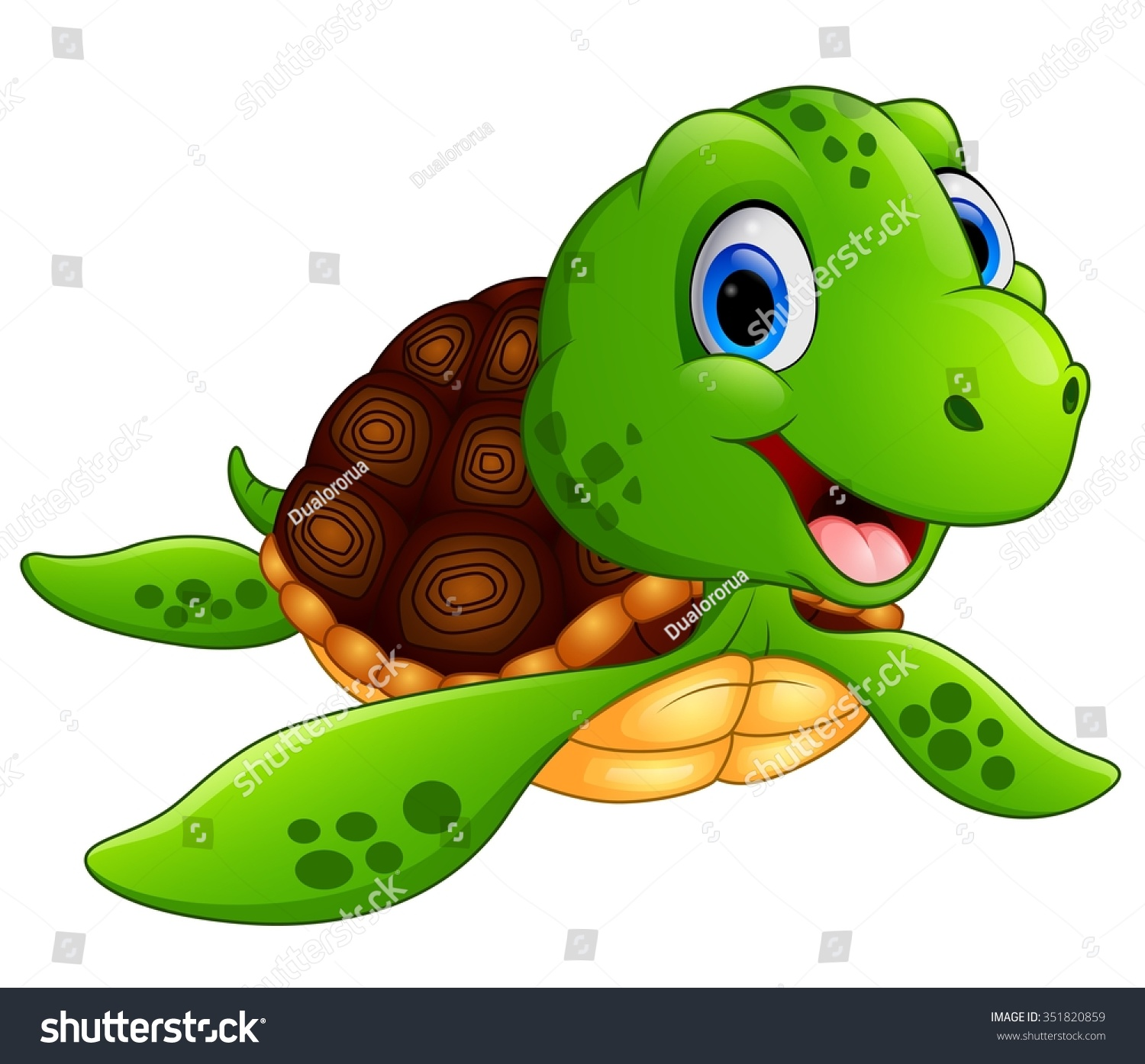 Happy sea turtle cartoon - Sea Turtle Cartoon PNG