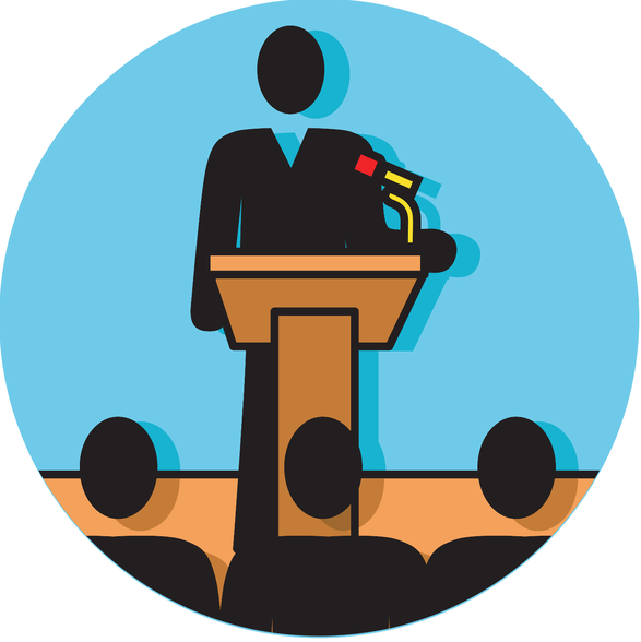 Illustration of man at podium