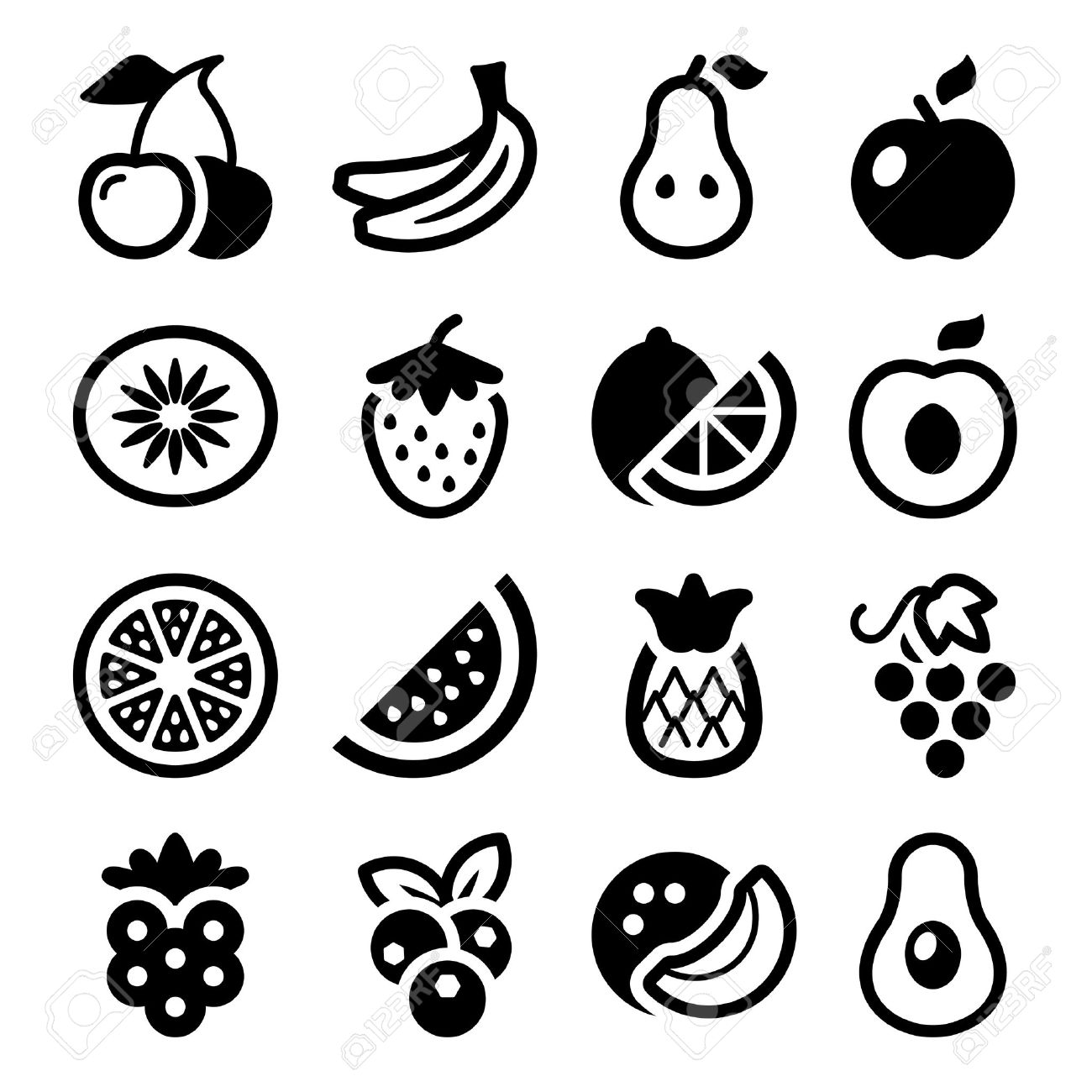 flat fruits icons set isolated black color Stock Vector - 27377890 - Set Of Fruits PNG Black And White