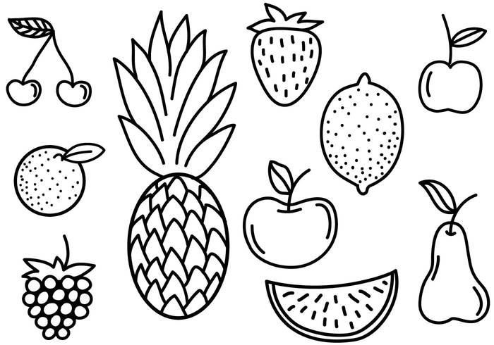 This is a set of free doodle fruits including: ananas (pineapple), apple,  orange, strawberry and others - Set Of Fruits PNG Black And White