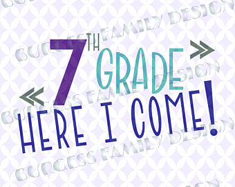 7th grade Seventh grade here I come First day of school Sibling Cuttable  design svg dxf - Seventh Grade PNG