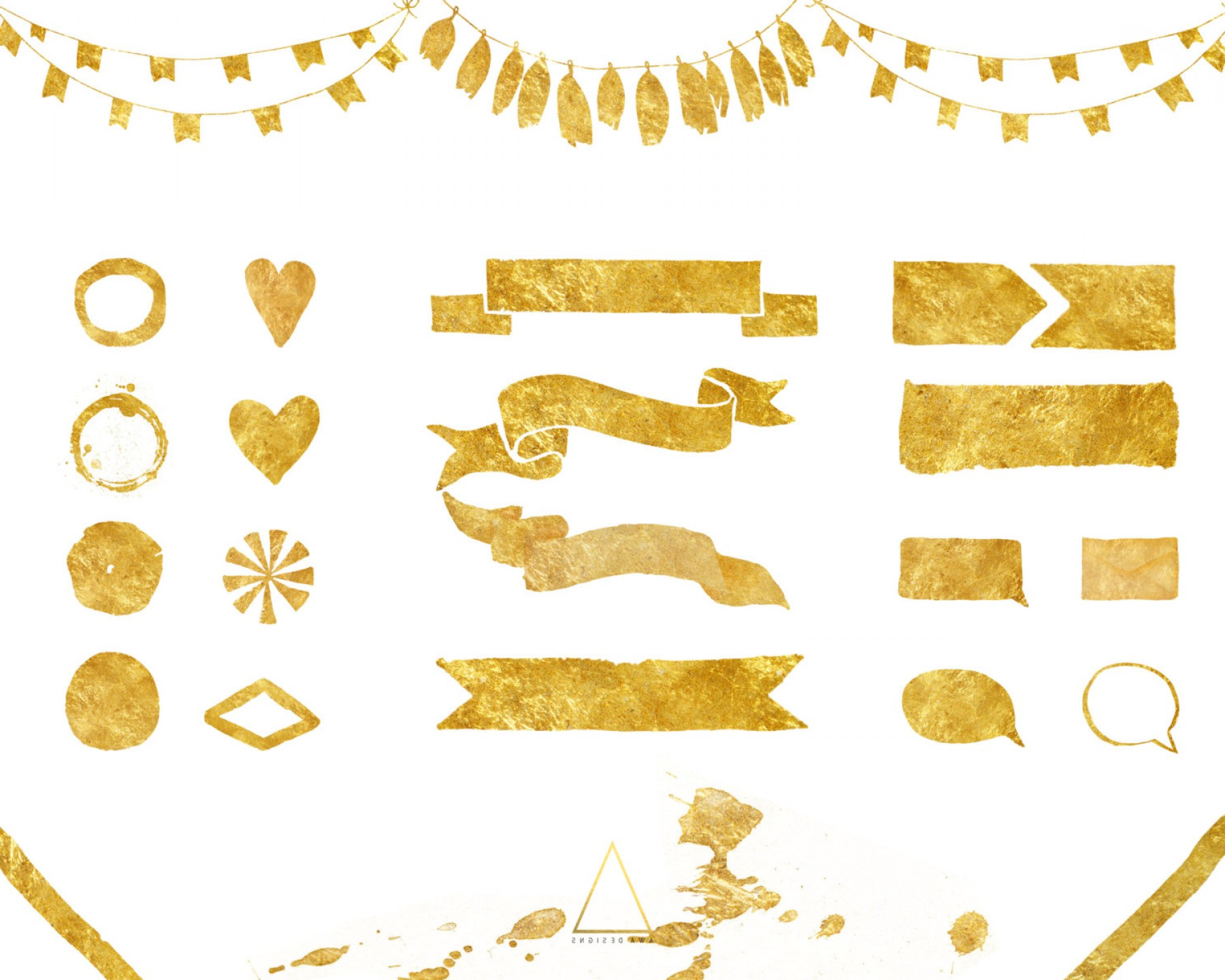 Gold shape png vector clipart - Shapes PNG HD