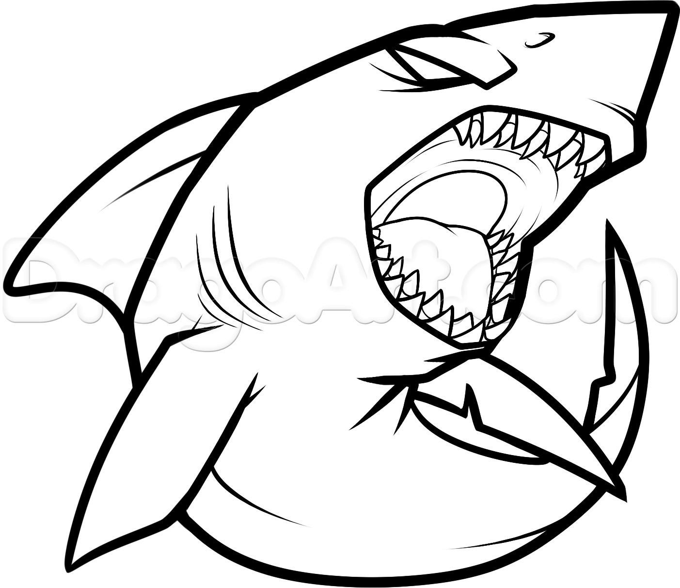 1403x1212 how to draw a cool shark step 7 Crafty things Pinterest - Shark Bite Mark PNG