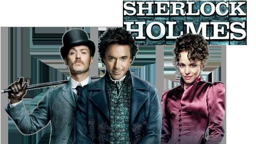 Sherlock Holmes movie image with logo and character - Sherlock Holmes HD PNG