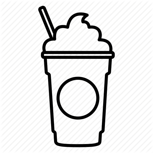 coffee, coffee shop, frappe, frappuccino, mocha, starbucks, straw icon - Shop PNG Black And White