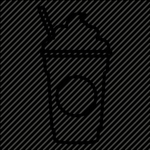 Coffee, Coffee Shop, Frappe, Frappuccino, Mocha, Starbucks, Straw Icon - Shop PNG Black And White