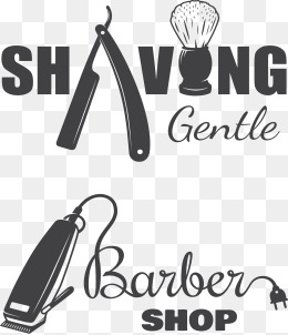 Creative Barber Shop Logo, Creative, Vector, Barbershop PNG And Vector - Shop PNG Black And White