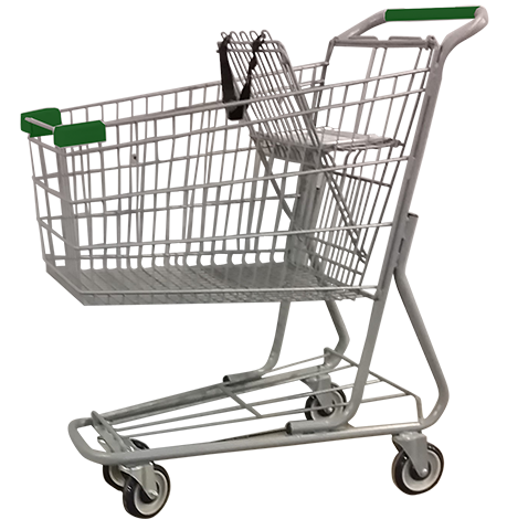 Metal Wire Shopping Cart 6,000 Cu. In. With Green Handle, Seat, PlusPng.com  - Shopping Carts PNG